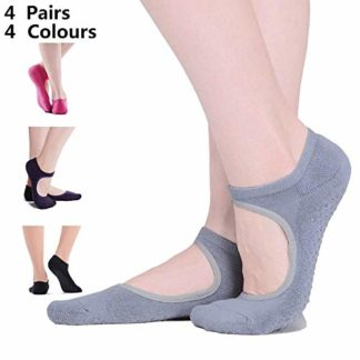 OhhGo Calcetines de Yoga 4 Pares de Mujeres Calcetines de algod/ón Deportivos Antideslizantes para Ejercicios de Pilates Danza Entrenamiento en casa